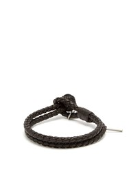 Bottega Veneta Double Wrap Leather Bracelet Brown