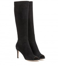 Gianvito Rossi Open Toe Suede Boots Black