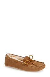 Minnetonka Sheepskin Moccasin Slipper Women Tan Suede