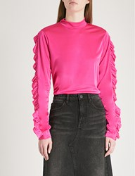 Moandco. Frilled Trim Satin Feel Top Fluorescence Pe