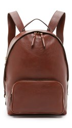 Lotuff Leather Zipper Backpack Chestnut
