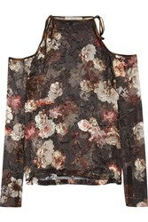 Preen By Thornton Bregazzi Alva Cutout Devore Silk Blend Chiffon Blouse Black