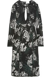 Erdem Chrissy Frayed Cutout Metallic Jacquard Dress Black