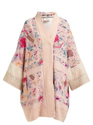 By Walid Jasemine Floral Embroidered Antique Silk Coat Pink Multi
