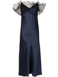 Christopher Esber Lace Embellished Textured Dress Blue