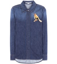 Stella Mccartney Embroidered Denim Shirt Blue