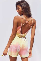 Ecote Ribbed Knit Tie Dye Romper Yellow