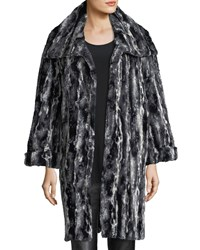 Caroline Rose Faux Fur Easy Coat Black White
