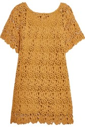 Miguelina Grace Cotton Guipure Lace Coverup Mustard