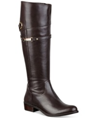 Tommy Hilfiger Delphy Wide Calf Riding Boots Women's Shoes Dark Brown