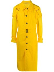 Yohji Yamamoto Buckle Detail Buttoned Trench Coat Yellow