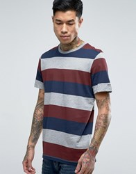 Jack And Jones Stripe Pocket T Shirt Red