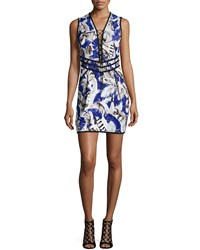 Roberto Cavalli Sleeveless Lace Up Feather Print Dress Blue Rosa