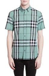 Burberry Men's 'Elfords' Slim Fit Short Sleeve Check Linen And Cotton Sport Shirt Slate Green
