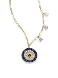 Meira T Diamond Blue Sapphire And 14K Yellow Gold Evil Eye Necklace