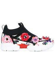 Msgm Flower Applique Sneakers Women Leather Neoprene Polyurethane Rubber 39 Black
