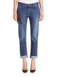 Stella Mccartney Wild Cat Patched Skinny Boyfriend Jeans Dark Blue