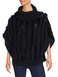 Dolce Cabo Rabbit Fur Poncho Black