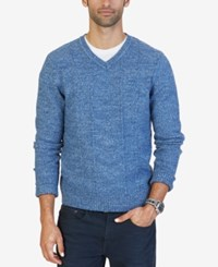 Nautica Men's Multi Texture V Neck Sweater Only At Macy's Mood Indigo