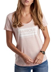 Barbour International Track T Shirt Pale Pink Marl
