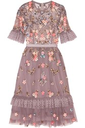 Needle And Thread Embellished Embroidered Tulle Dress Lavender
