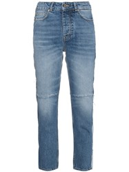 Golden Goose Deluxe Brand Mid Rise Patchwork Jeans Blue