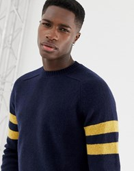 Celio Crew Neck Knit With Arm Stripe In Navy