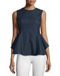 Petite Kalsing D Spring Peplum Top Dark Denim Women's Dark Indigo Theory