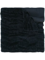 Issey Miyake Pleated Scarf Women Polyester One Size Blue