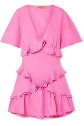 Maggie Marilyn The Jones Ruffled Recycled Crepe De Chine Mini Dress Pink