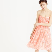 J.Crew Marbella Strapless Dress In Watercolor Silk Chiffon