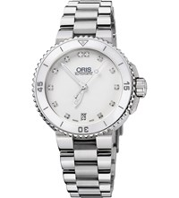 Oris 73376524191Mb Diving Stainless Steel And Diamond Watch White