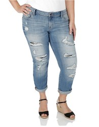 Lucky Brand Plus Distressed Boyfriend Jeans Blue