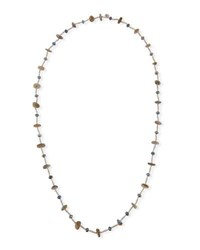 Stephen Dweck Pearl And Labradorite Beaded Station Necklace 44 Gray