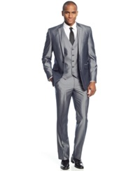 Kenneth Cole Reaction Grey Pinstripe Vested Slim Fit Suit