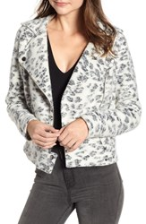 Cupcakes And Cashmere Leopard Fleece Moto Jacket Ivory