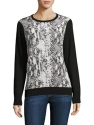 Equipment Roland Wool And Silk Snake Print Sweater Black Combo