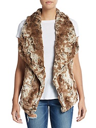 Faux Fur Open Front Vest Brown