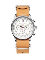 Jack Mason Nautical Stainless Steel And Italian Leather Nato Strap Watch Brown