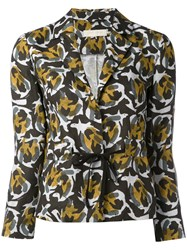 L'autre Chose Abstract Print Fitted Jacket Women Linen Flax 40 Green