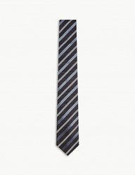 Tiger Of Sweden Rutger Diagonal Stripe Silk Tie Blue
