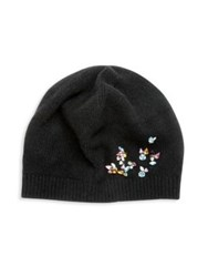 Portolano Jeweled Cashmere Beanie Black