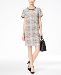 Tommy Hilfiger London Tweed Shift Dress Black Pink White