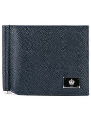 Dolce And Gabbana Fold Out Wallet Men Calf Leather One Size Blue