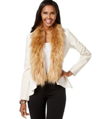 Inc International Concepts Faux Fur Trim Draped Jacket Only At Macy's Dreamy Chalk