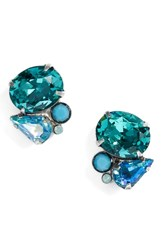 Sorrelli Mayflower Crystal Earrings Blue Green