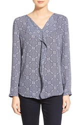 Women's Halogen 'Waterfall' Blouse Ivory Blue Marble Print