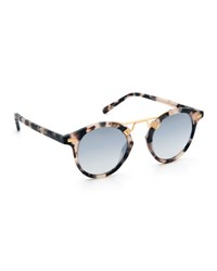 Krewe St. Louis Round Gradient Sunglasses Tortoise Brown Pattern