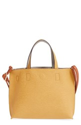 Street Level Reversible Faux Leather Crossbody Mini Tote And Wristlet Yellow Mustard Grey