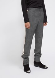 Calvin Klein 205W39nyc 'S Glen Plaid Ribbon Stripe Trouser Pants In Grey Black Marine Size 46 Polyamide Wool Grey Black Marine